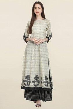 Nayo Beige & Black Printed Kurta & Skirt