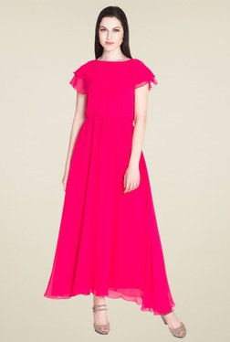 Drapes & Silhouettes Fuchsia Short Sleeves Maxi Dress