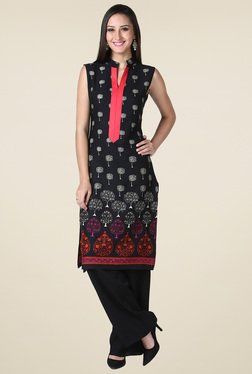 Drapes & Silhouettes Black Sleeveless Cotton Kurta