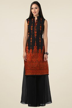 Drapes & Silhouettes Black & Brick Red Printed Cotton Kurti