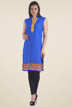 Drapes & Silhouettes Blue Printed Cotton Kurti
