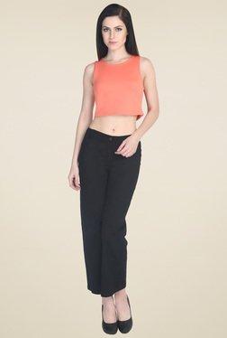 Drapes & Silhouettes Peach Sleeveless Crop Top