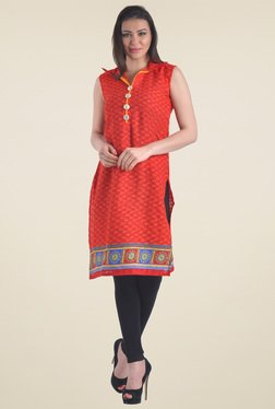 Drapes & Silhouettes Red Printed Cotton Kurti