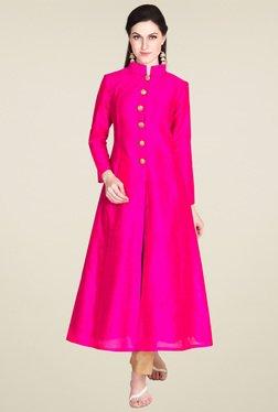 Drapes & Silhouettes Hot Pink Mandarin Collar Slim Fit Kurta