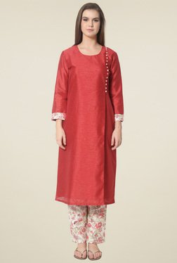 Drapes & Silhouettes Red Round Neck Full Sleeves Kurta