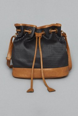 Westside Black Vivien Pleated Bucket Bag