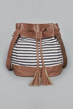 Westside White & Navy Striped Bucket Bag