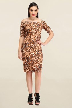 Cation Brown Floral Print Dress