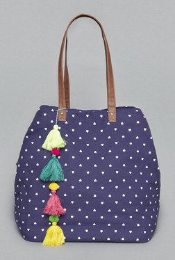 Westside Navy Heart Print Simone Tote Bag