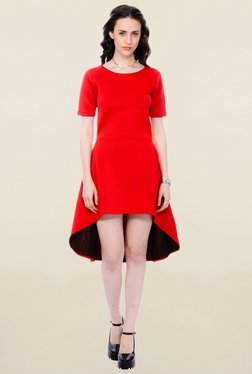 Cation Red Short Sleeves Dress
