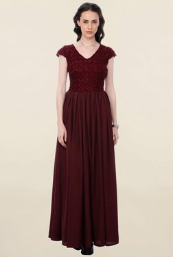Cation Maroon Lace Dress