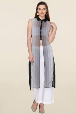W Grey Striped Kurta