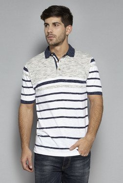 Westsport By Westside White & Navy Slim Fit Polo T Shirt