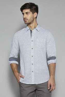 Westsport by Westside White & Blue Slim Fit Shirt