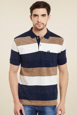 Duke Navy & Brown Striped Half Sleeves Polo T-Shirt