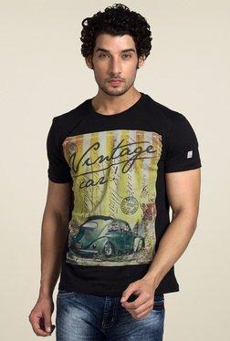 Club Fox Black Printed T-Shirt