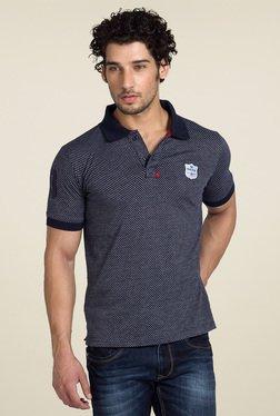 Club Fox Navy & White Half Sleeves Polo T-Shirt