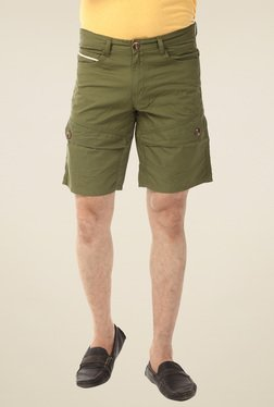 Yoo Olive Slim Fit Cotton Shorts