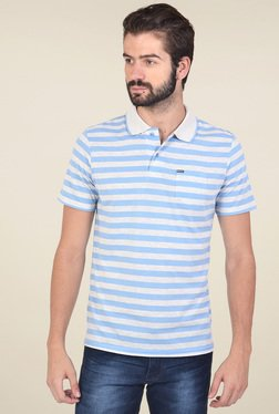 Club Fox Light Grey & Blue Regular Fit Polo T-Shirt