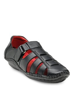 Teakwood Leathers Black Fisherman Sandals