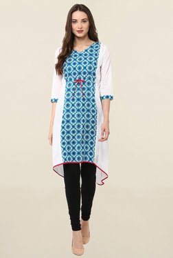 Janasya Blue & White Printed Cotton Kurti