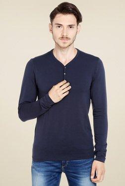 Jack & Jones Navy Slim Fit Henley T-Shirt