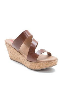 Red Tape Brown Wedge Heeled Sandals