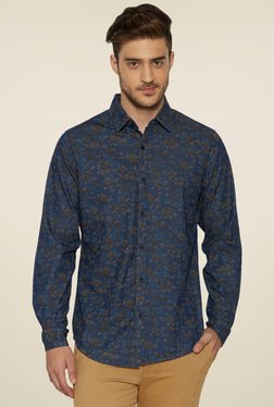 Globus Navy Printed Full Sleeves Shirt