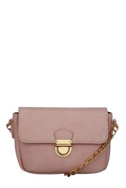 Caprese Paris Silver Pink Solid Flap Sling Bag