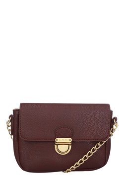 Caprese Paris Burgundy Solid Flap Sling Bag