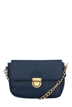 Caprese Paris Navy Solid Flap Sling Bag