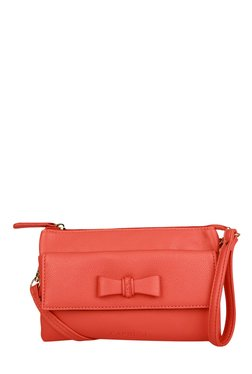 Caprese Lina Coral Pink Bow Detail Sling Bag
