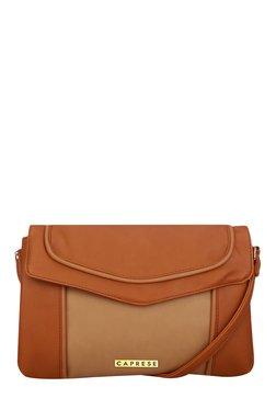 Caprese Tessa Brown Piping Detail Sling Bag