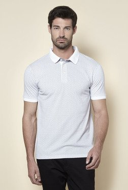 Zudio Off White Printed Regular Fit Polo T Shirt
