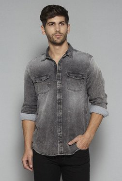 Nuon by Westside Grey Denim Slim Fit Shirt