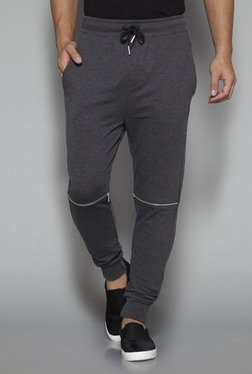 Nuon By Westside Grey Textured Slim Fit Joggers