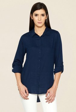 Globus Navy Solid High Low Shirt