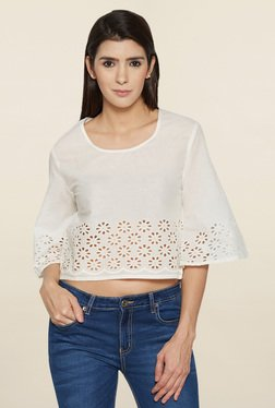 Globus Off White Lace Crop Top