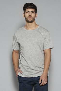 Nuon by Westside Grey Textured Slim Fit Crewneck T Shirt