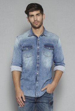 Nuon by Westside Blue Denim Slim Fit Shirt