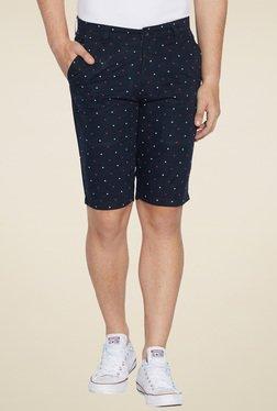 Globus Navy Printed Slim Fit Shorts