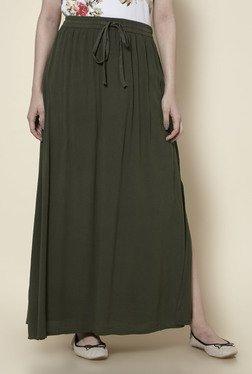 Zudio Olive Side Slit Skirt