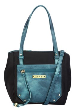 Caprese Brienne Metallic Blue Color Block Shoulder Bag