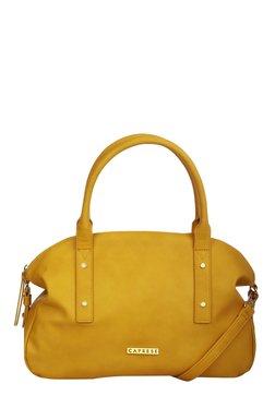 Caprese Rosa Ochre Solid Bowlers Shoulder Bag