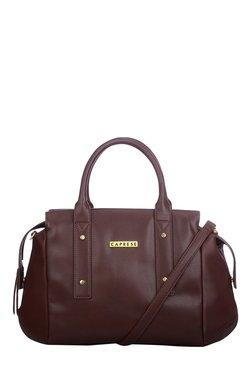 Caprese Rosa Brown Solid Bowlers Shoulder Bag