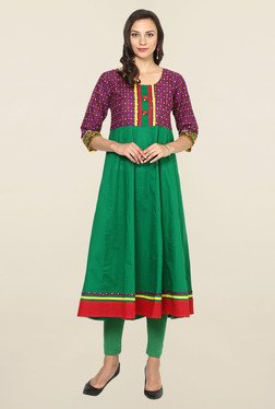 Aujjessa Green & Purple Printed Cotton Anarkali Kurta