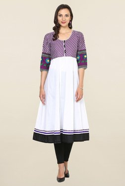 Aujjessa White & Purple Printed Cotton Anarkali Kurta