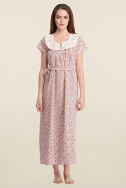 Clovia Coral Floral Print Nighty With Waist Belt