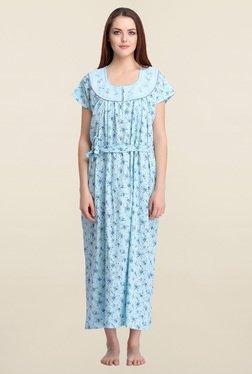 Clovia Blue Floral Print Nighty With Waist Belt