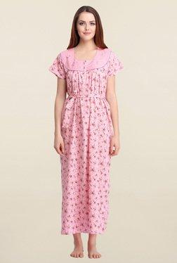 Clovia Pink Floral Print Nighty With Waist Belt